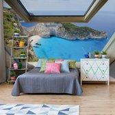 Fotobehang Greek Island Skylight Window View   V4 - 254cm x 184cm   130gr/m2 Vlies