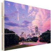 Kleurrijke lucht boven de Amerikaanse stad Raleigh Vurenhout met planken 90x60 cm - Foto print op Hout (Wanddecoratie)