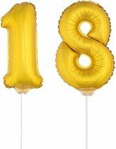 Gouden opblaas cijfer 18 op stokjes - verjaardag versiering / jaar