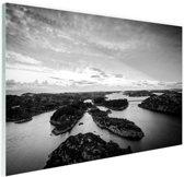 Noordzee eilanden zwart-wit foto Glas 60x40 cm - Foto print op Glas (Plexiglas wanddecoratie)