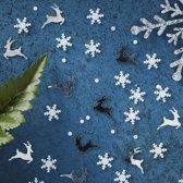 Zilver sneeuwvlok en rendier Tafelconfetti