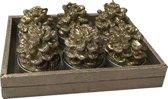 Deco Kaarsen glitter dennenappel 6-set- Alldeco-