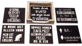 Originele Grappige Onderzetters Zwarte Set 8, 6 stuks met een houder van FSC-gecertificeerd hout