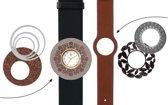 Deja Vu Premium horlogeset zwart/bruin met goudkleurig uurwerk