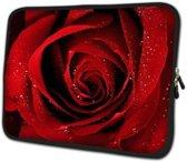 13 inch Laptophoes met Print Roos – Laptoptas Sleeve met Rits Sluiting