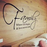 Muursticker family where life begins & love never ends