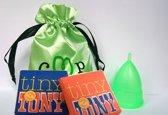 Menstruatiecup, De Groene Cup model I, met 2 gratis Tiny Tony's (kleine chocolaatjes Tony's Chocolonely) - voor duurzaam en gezond menstrueren