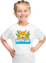 Kitty Cat t-shirt wit voor kinderen - unisex - katten / poezen shirt XS (110-116)