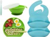 Kinderserviesset met zuignap en baby lepels en slabbetjes - Siliconen - 6 stuks