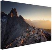Uitzicht over de bergen Canvas 180x120 cm - Foto print op Canvas schilderij (Wanddecoratie woonkamer / slaapkamer) XXL / Groot formaat!
