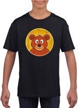 Kinder t-shirt zwart met vrolijke beer print - beren shirt M (134-140)