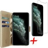 iPhone 11 Pro Hoesje + Screenprotector Case Friendly - Book Case Portemonnee - iCall - Goud