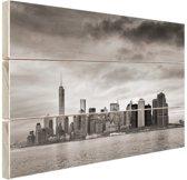 Manhattan New York in zwart-wit Hout 30x20 cm - klein - Foto print op Hout (Wanddecoratie)