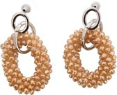 Oorhangers Champagne - glass beads - 5x2.5cm - Dielay