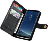 Samsung Galaxy S8 Plus Echt Leren Portemonnee Hoesje Zwart