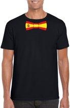 Zwart t-shirt met Spaanse vlag strikje heren - Spanje supporter S