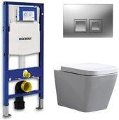 Geberit UP 100 Toiletset - Inbouw WC Hangtoilet Wandcloset - Alexandria Delta 50 Mat Chroom