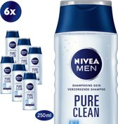 NIVEA MEN Pure Clean Shampoo - 6 x 250 ml - Voordeelverpakking