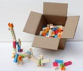 Grote set houten blokken speelgoed , vier verschillende blokjes die in elkaar passen. Kruis, H vormig, en plankjes. Oneindig veel mogelijkheden., 260  elementen