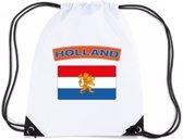 Nederland nylon rijgkoord rugzak/ sporttas wit met Nederlandse vlag
