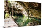Meer tussen de grotten bij Quintana Roo in Mexico Aluminium 90x60 cm - Foto print op Aluminium (metaal wanddecoratie)