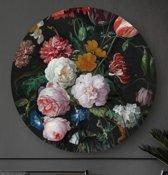 HIP ORGNL Stilleven met bloemen in een glazen vaas Heem   rond schilderij   ronde oude meester   ⌀  80 cm   wanddecoratie