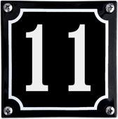 Zwart emaille huisnummer  - 11