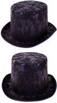 Hoge hoed zwart fluweel steampunk tophat - one size - maat 59 60 61 62 - met elastieken band - grijze heren dames festival carnaval Burning Man