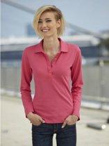 Roze stretch poloshirt voor dames M