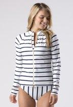 Mott50 Wynn Dames UV Werend Shirt Full Zip Lange Mouw True Navy Stripe