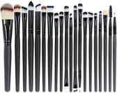 20 stuks Professionele Make-Up Kwasten Set - Zwart