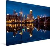 Het Noord-Amerikaanse Minneapolis verlicht in de nacht Canvas 180x120 cm - Foto print op Canvas schilderij (Wanddecoratie woonkamer / slaapkamer) XXL / Groot formaat!