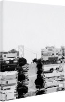 San Francisco zwart-wit Canvas 20x30 cm - klein - Foto print op Canvas schilderij (Wanddecoratie woonkamer / slaapkamer) / Steden Canvas Schilderijen