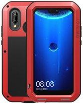 Metalen fullbody hoes voor Huawei P20 Lite, Love Mei, metalen extreme protection case, zwart-rood