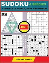 Sudoku 4 Species. 2 Difficulty Levels, Easy and Medium. 400 Collection Puzzles