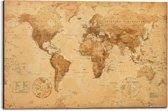 REINDERS Wereldkaart antiekstijl - Deco Panel - 90x60cm