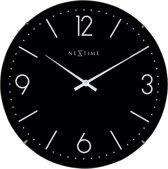 NeXtime Basic Dome - Klok - Stil uurwerk - Glas - Rond - Ø35 cm - Zwart
