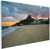 Leblon strand Rio de Janeiro Glas 180x120 cm - Foto print op Glas (Plexiglas wanddecoratie) XXL / Groot formaat!