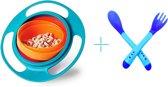 Spill-Proof Babyvoeding Kom - Magische Kom / Bowl 360 Graden Rotatie - Morsen Bestendig - Met Deksel Voor Peuter Baby Kinderen - Blauw + Baby Bestek