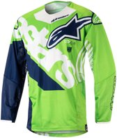 Alpinestars Crossshirt Techstar Venom Fluor Green/White/Dark Blue-XL