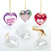 Doorzichtige hartvormige kerstballen  (12 stuks per verpakking)