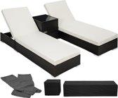 2 luxe ligbedden met bijzettafel ligstoel zwart inclusief beschermhoes 401500