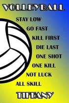 Volleyball Stay Low Go Fast Kill First Die Last One Shot One Kill Not Luck All Skill Tiffany