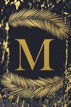 M: Trendy Gold Initial Monogram Letter M - Feathers & Marble Texture Personalized Blank Lined Journal & Dairy to Notes an
