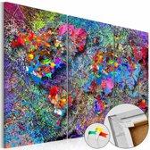 Afbeelding op kurk - Kleurrijke wereldkaart
