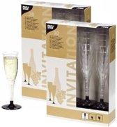 Plastic champagne glazen - 40 stuks - wegwerp champagneglazen