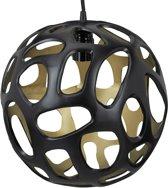 relaxdays hanglamp bolvormig - zwart en goud - plafondlamp - lampenkap 30 cm - licht - lam
