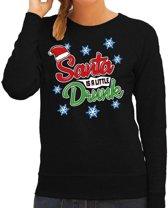 Foute kersttrui / sweater Santa is a little drunk zwart voor dames - kerstkleding / christmas outfit XL (42)