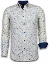 Gentile Bellini Italiaanse Overhemden - Slim Fit Overhemd - Blouse Drawn Flower Pattern - Beige - Maten: XXL