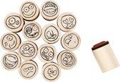 Deco Art Stempels, d: 20 mm, smiley, 15 assorti